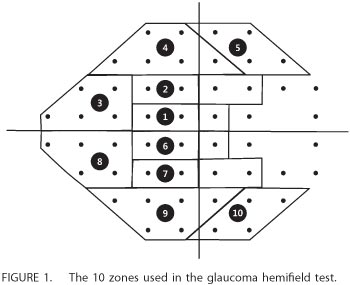 Figure 1 - the 10 zones used in the glaucoma hemifield test